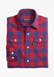 Brooks Brothers Boys Two Tone Plaid Flannel Sport Shirt