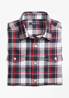 Brooks Brothers Boys Winter Tartan Flannel Sport Shirt