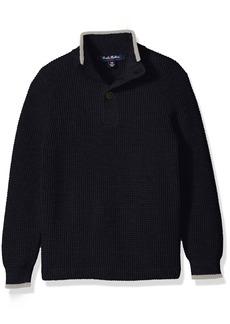 Brooks Brothers Boys' Big Supima Waffle Mock Neck Sweater