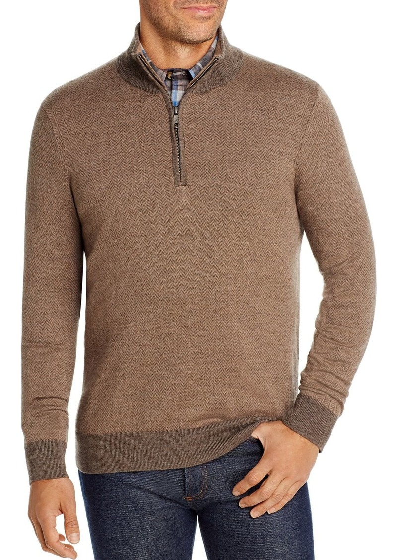 Brooks Brothers Birdseye Merino Wool Quarter-Zip Sweater