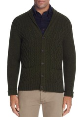 Brooks Brothers Lambswool Cable-Knit Shawl Collar Cardigan Sweater