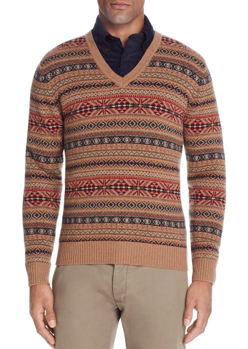 Brooks Brothers Brooks Brothers Lambswool Fair Isle V-Neck Sweater ...