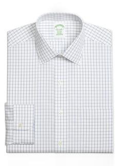 Brooks Brothers Men's Milano Extra-Slim Fit Non-Iron Pinpoint Windowpane Blue Dress Shirt