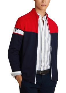 Brooks Brothers Men's Red Fleece Colorblocked Full-Zip Sweater