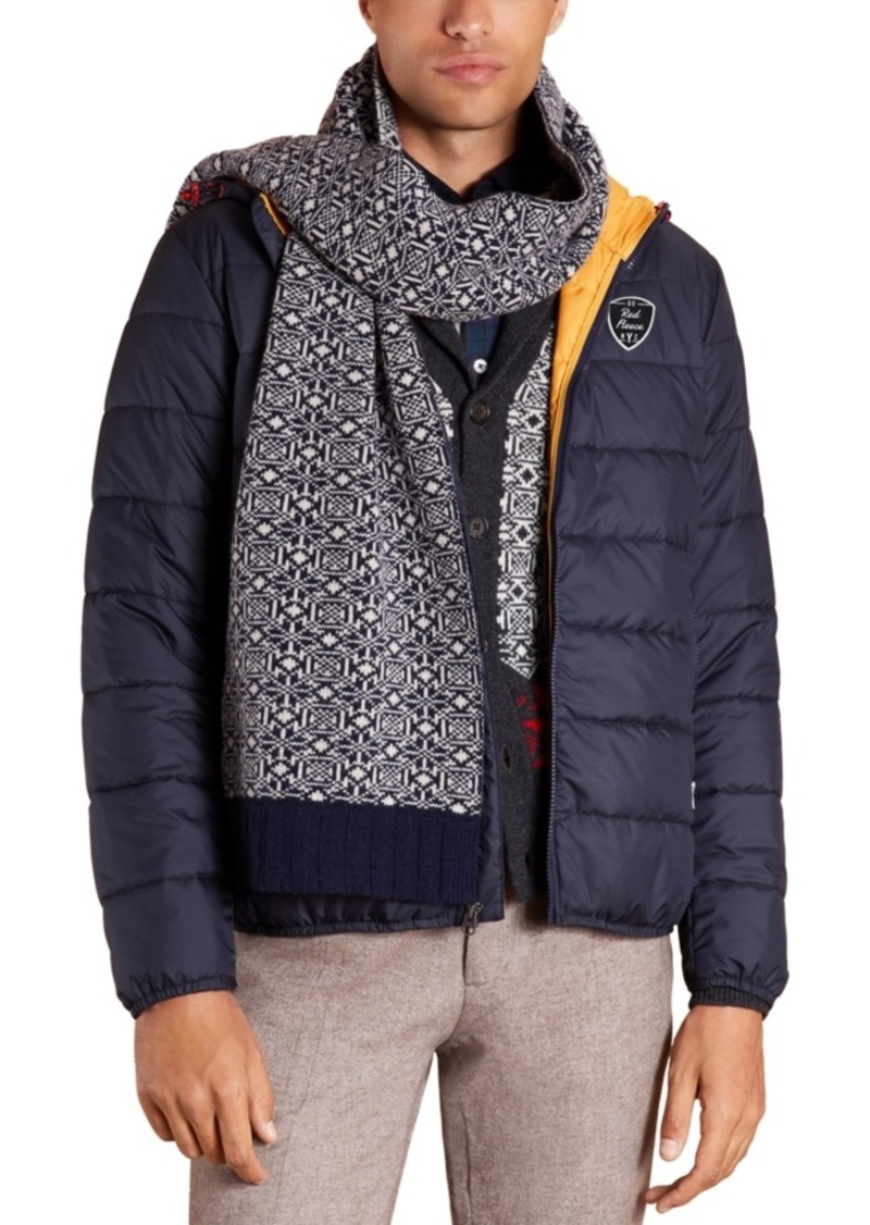 Brooks Brothers Men's Red Fleece Quilted Hooded Puffer Jacket