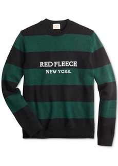 Brooks Brothers Men's Red Fleece Regular-Fit Striped Sweater