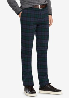 Brooks Brothers Men's Red Fleece Stretch Black Watch Tartan Brushed Twill Pants