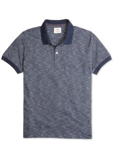 Brooks Brothers Men's Red Fleece Textured-Knit Feeder-Stripe Polo