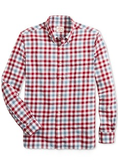 Brooks Brothers Men's Red Fleece Twill Gingham Shirt