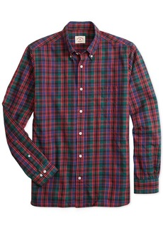 Brooks Brothers Red Fleece Mens Slim Fit Flannel Tartan Shirt
