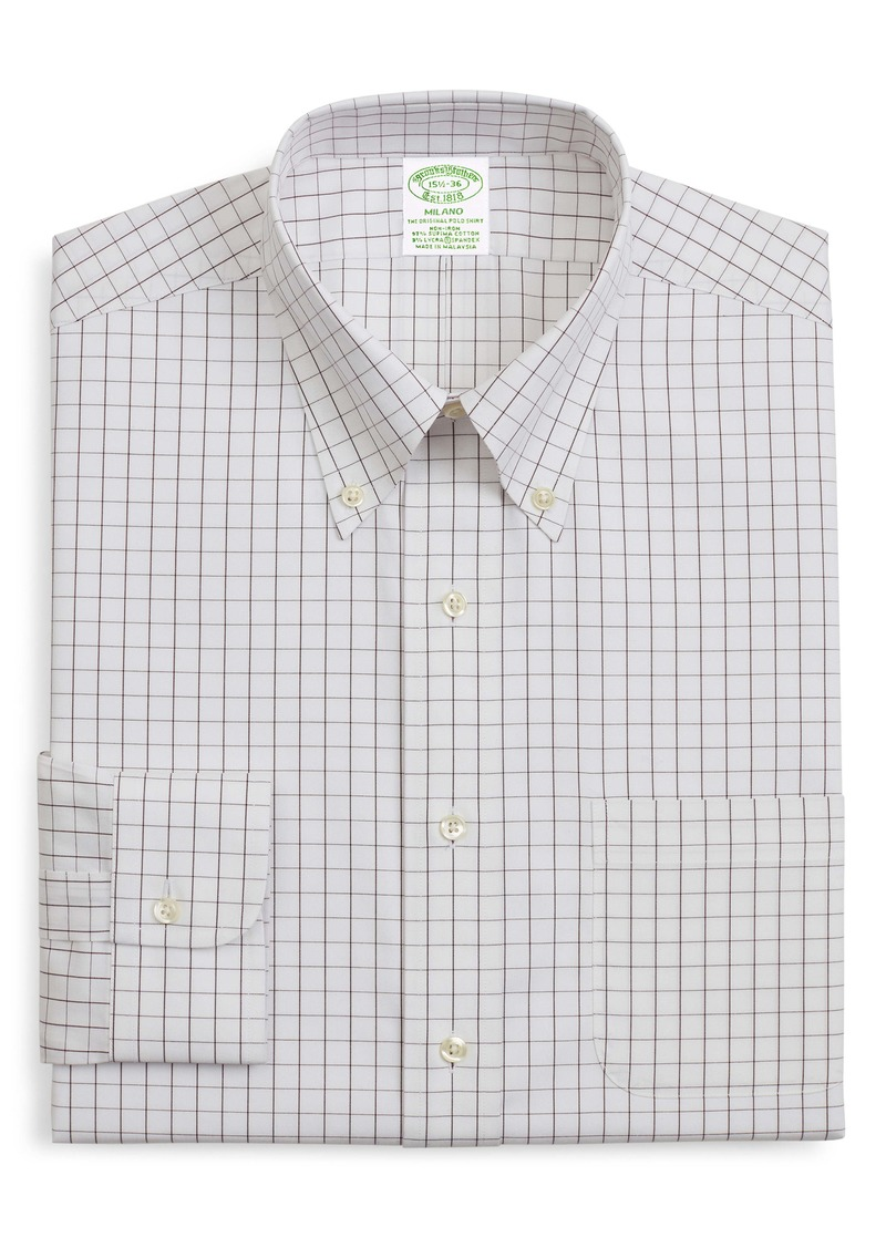 Brooks Brothers Milano Trim Fit Stretch Windowpane Dress Shirt