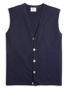 Brooks Brothers Red Fleece Buttoned Merino Wool Vest