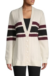 Brooks Brothers Red Fleece Cable-Knit Striped Wool-Blend Cardigan