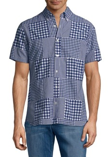 Brooks Brothers Red Fleece Cotton Madras Gingham Patchwork Button-Down Shirt