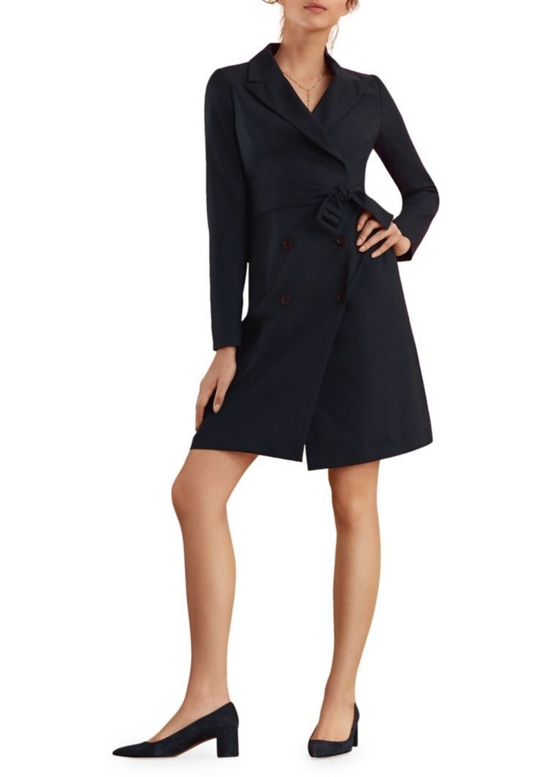 Brooks Brothers Red Fleece Double-Breasted Wool-Blend Faux Wrap Dress