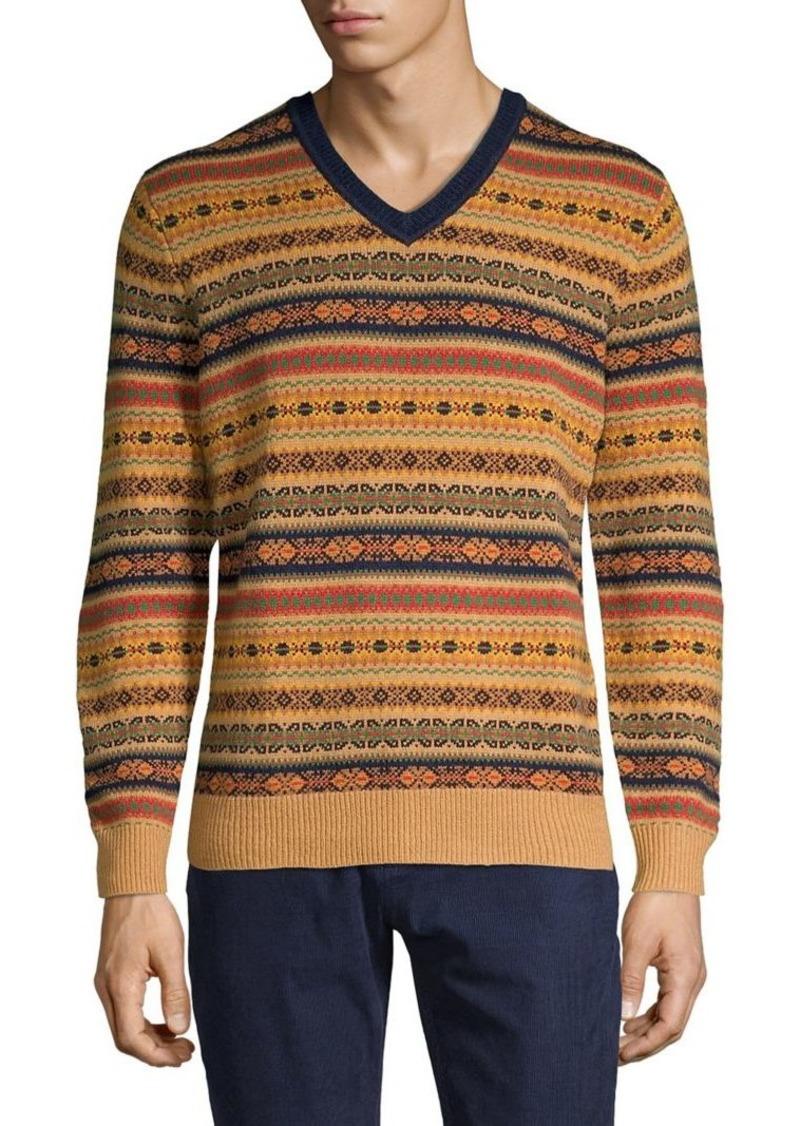 Brooks Brothers Red Fleece Fair Isle V-Neck Sweater