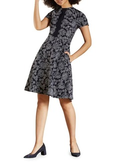 Brooks Brothers Red Fleece Floral Embroidered A-line Dress
