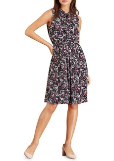 Brooks Brothers Red Fleece Floral Ruffled A-Line Dress