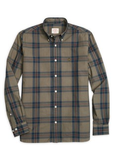 Brooks Brothers Red Fleece Garment Dyed Plaid Button Front Shirt
