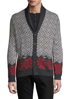 Brooks Brothers Red Fleece Geometric-Print Wool-Blend Cardigan