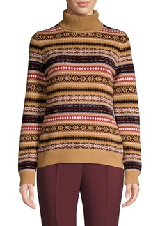 Brooks Brothers Red Fleece Merino-Blend Fair Isle Turtleneck Sweater