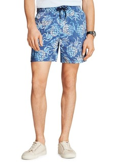 Brooks Brothers Red Fleece Pineapple-Print Swim Trunks