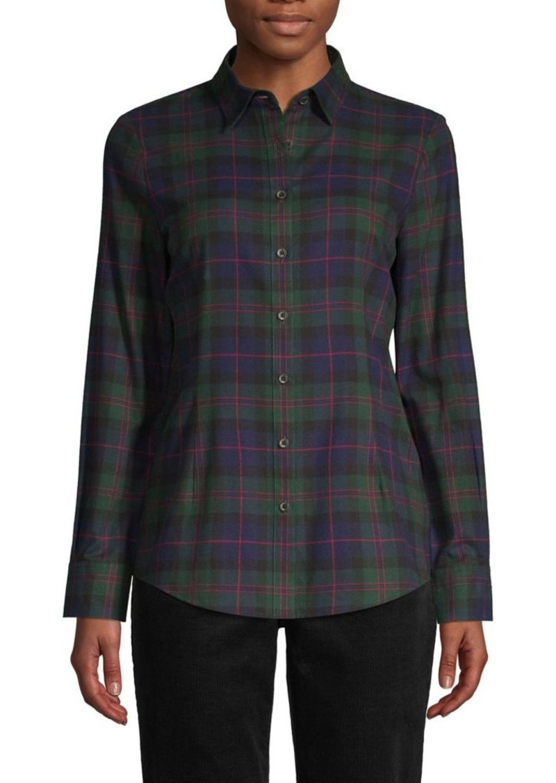 Brooks Brothers Red Fleece Plaid-Print Cotton Shirt