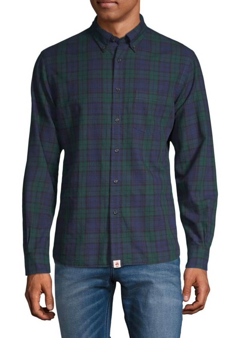 Brooks Brothers Red Fleece Plaid-Print Long-Sleeve Shirt