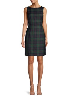 Brooks Brothers Red Fleece Plaid Wool-Blend Mini Sheath Dress