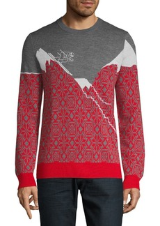 Brooks Brothers Red Fleece Printed Merino Wool Sweater