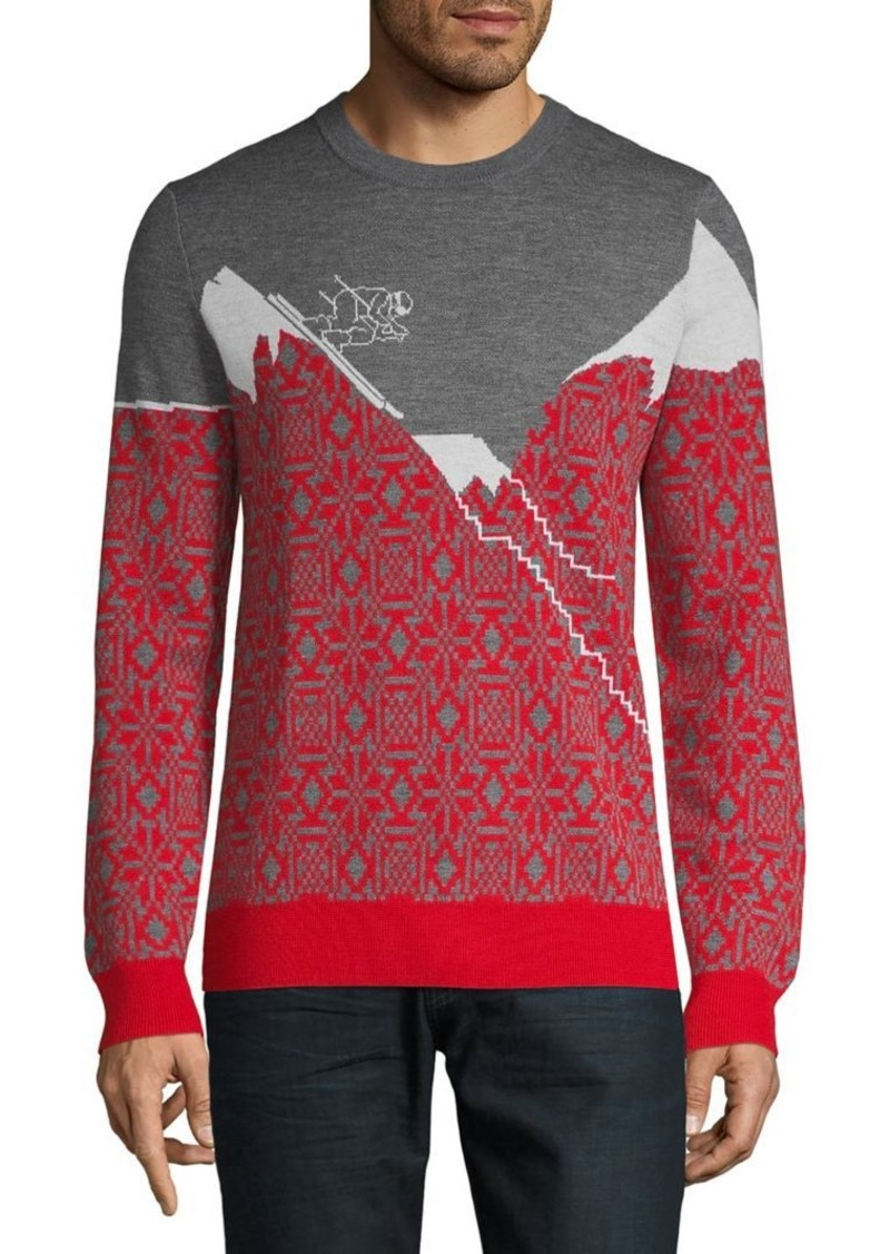 Brooks Brothers Red Fleece Printed Merino Wool Sweater
