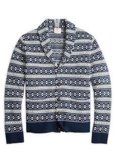 Brooks Brothers Red Fleece Printed Shawl Collar Cardigan