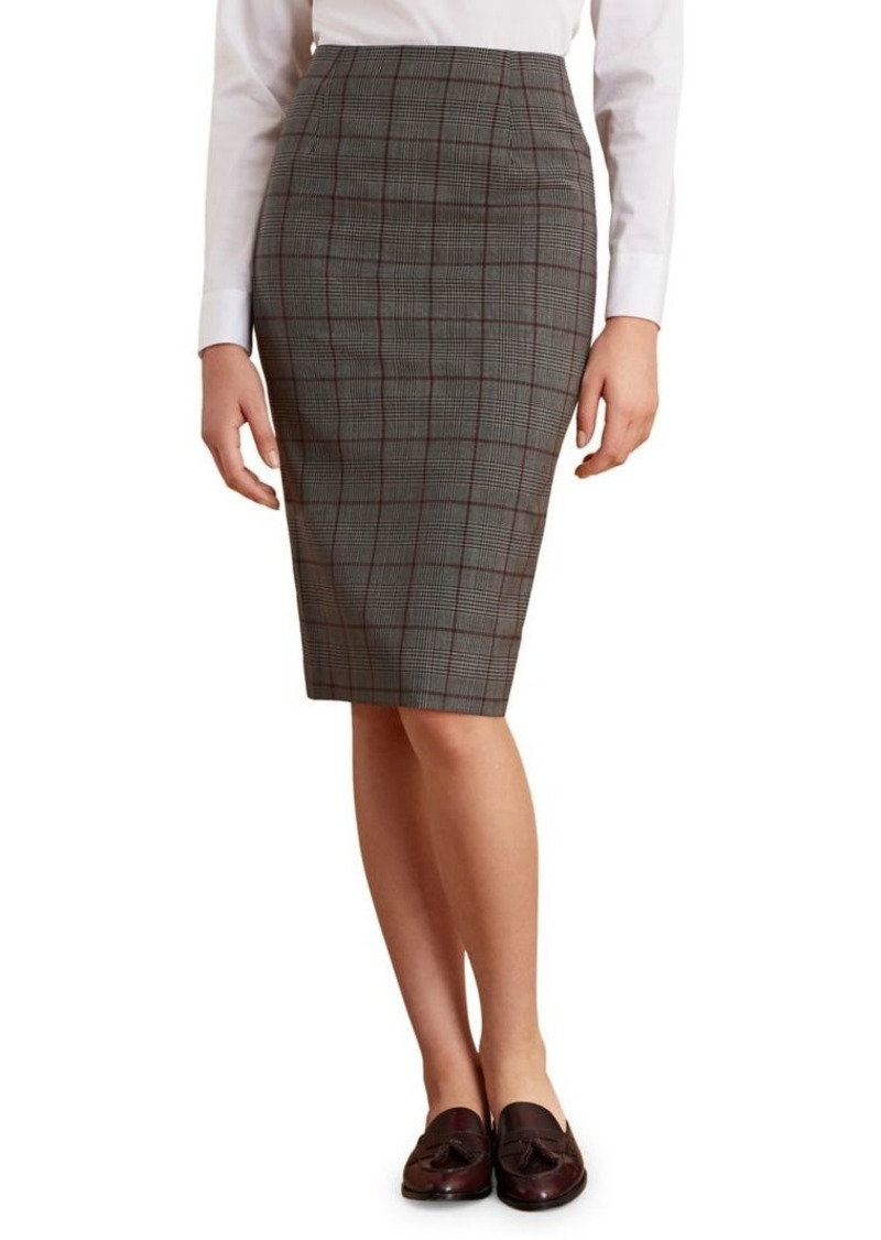 Brooks Brothers Red Fleece Printed Wool-Blend Pencil Skirt
