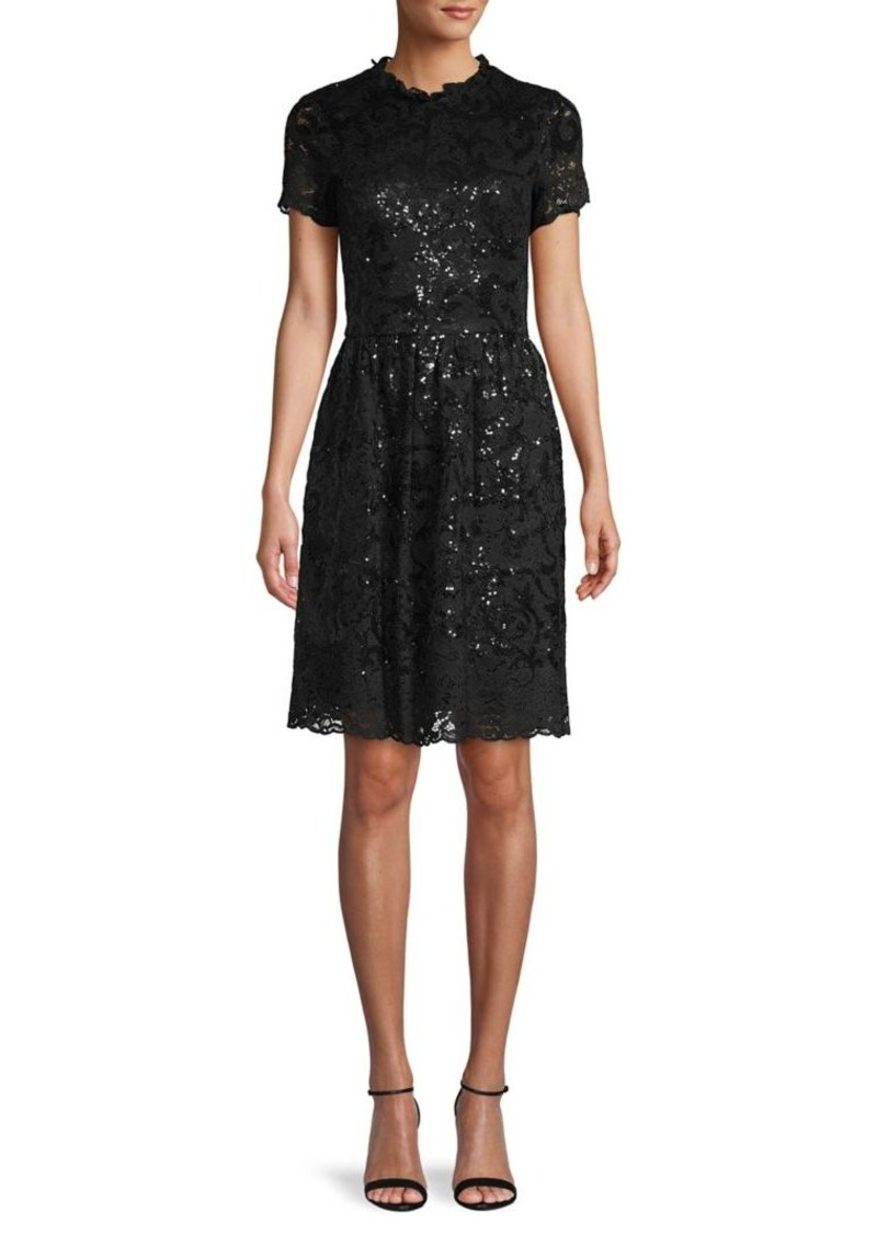 Brooks Brothers Red Fleece Sequin Lace Dress