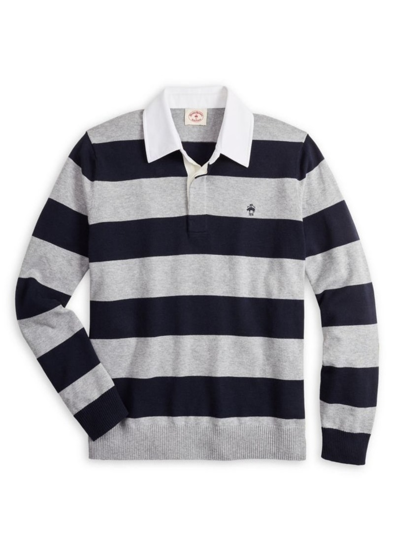 Brooks Brothers Red Fleece Striped Cotton & Cashmere Blend Rugby Shirt