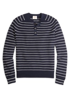 Brooks Brothers Red Fleece Striped Cotton Henley Sweater