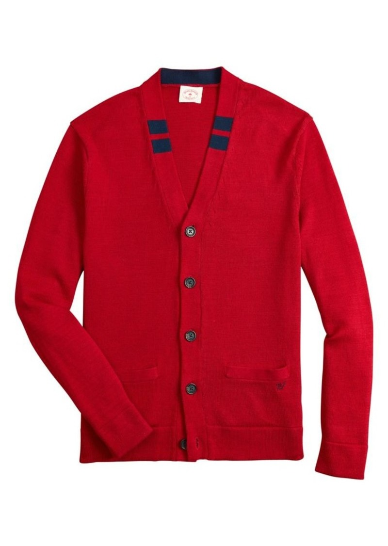 Brooks Brothers Red Fleece Tipped Cotton Cardigan