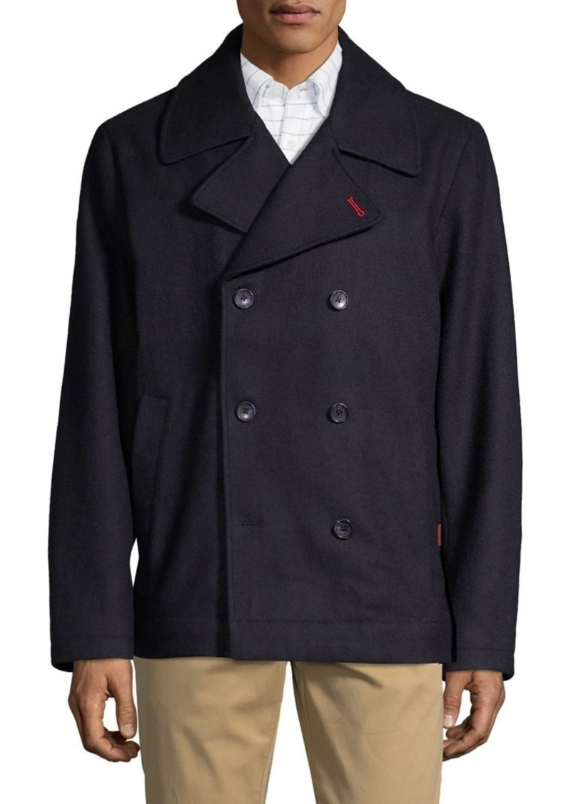 Brooks Brothers Red Fleece Wool-Blend Button Peacoat