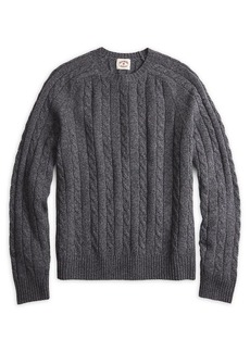 Brooks Brothers Red Fleece Wool-Blend Cable Crewneck Sweater