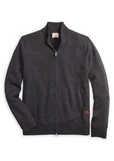 Brooks Brothers Red Fleece Wool Zip-Front Baseball Sweater