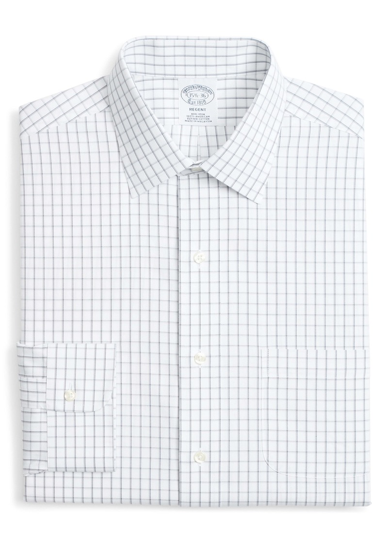 Brooks Brothers Regent Regular Fit Non-Iron Windowpane Dress Shirt