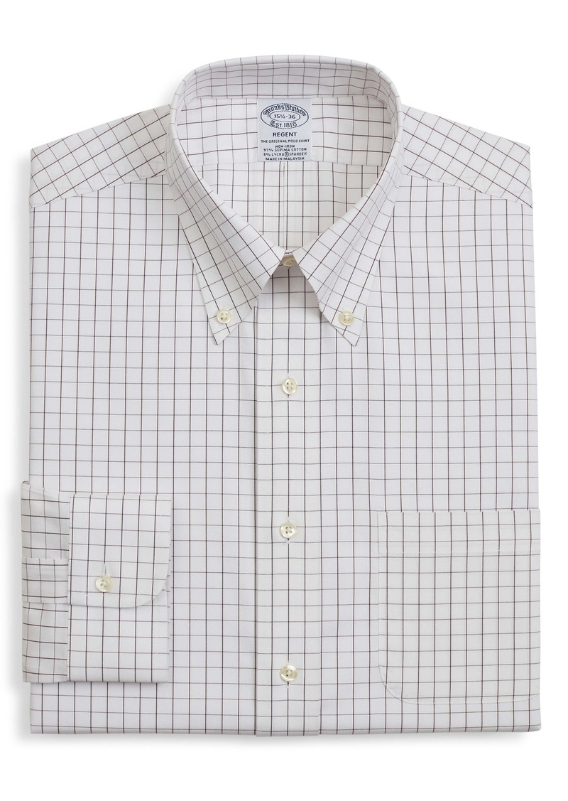 Brooks Brothers Regent Regular Fit Windowpane Dress Shirt