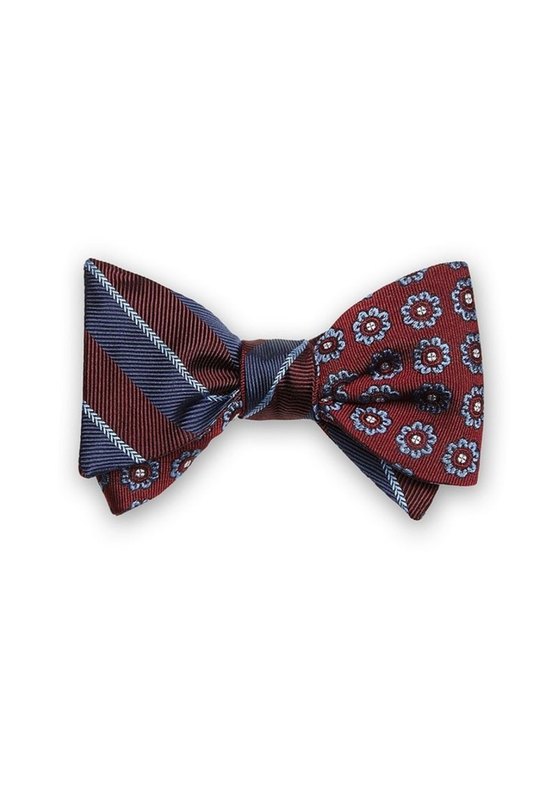 Brooks Brothers Stripe Floral Self-Tie Bow Tie