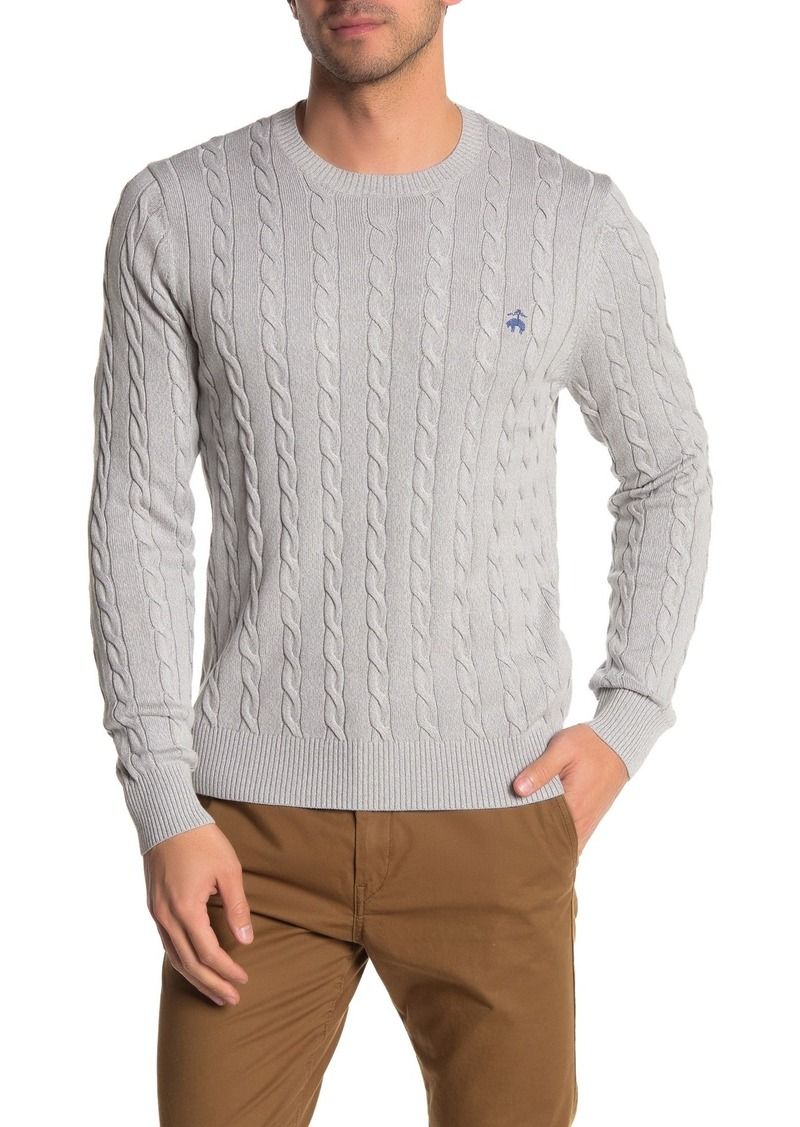 Brooks Brothers Cable Knit Crew Neck Sweater