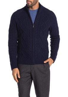 Brooks Brothers Cable Knit Wool Blend Zip Up Jacket