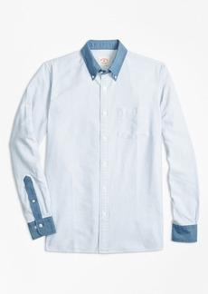 Brooks Brothers Chambray-Trim Striped Cotton Oxford Sport Shirt