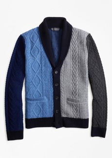 Brooks Brothers Color-Block Cable Cardigan