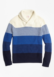 Brooks Brothers Color-Block Cotton Shaker Shawl-Collar Sweater