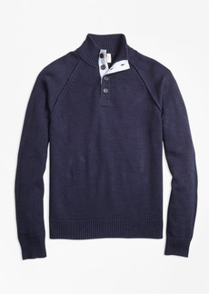 Brooks Brothers Cotton Button-Mockneck Sweater