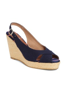 Brooks Brothers Cotton Canvas Slingback Wedge